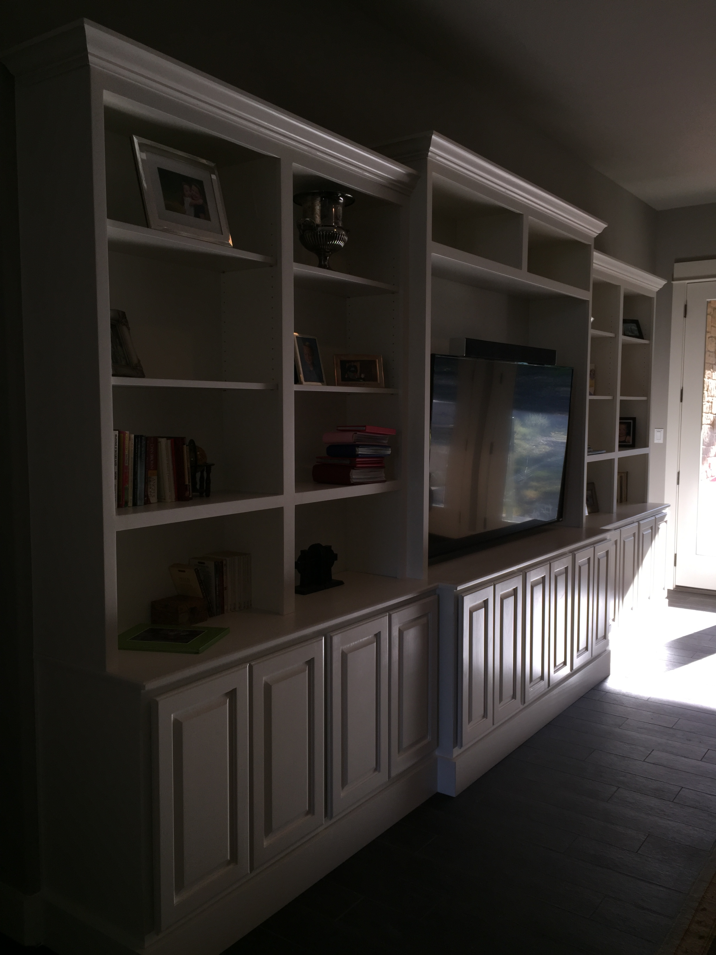 Jaimes Custom Cabinets White Entertainment Center Built In