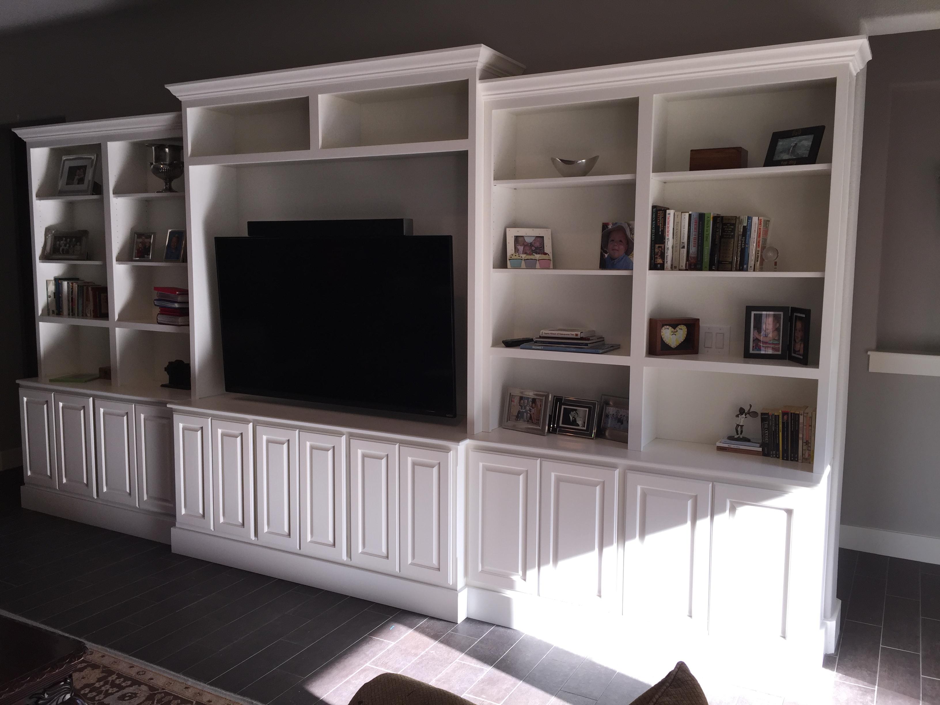 Jaimes custom cabinets white entertainment center built in for Built in entertainment center using kitchen cabinets